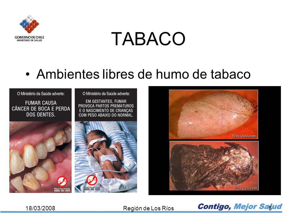 TABACO Ambientes libres de humo de tabaco 18/03/2008Región de Los Ríos5