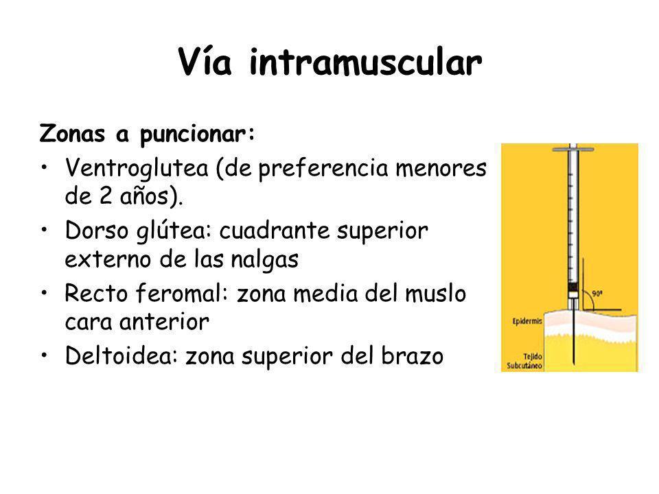 Vía intramuscular Zonas a puncionar: Ventroglutea (de preferencia menores de 2 años). Dorso glútea: cuadrante superior externo de las nalgas Recto fer