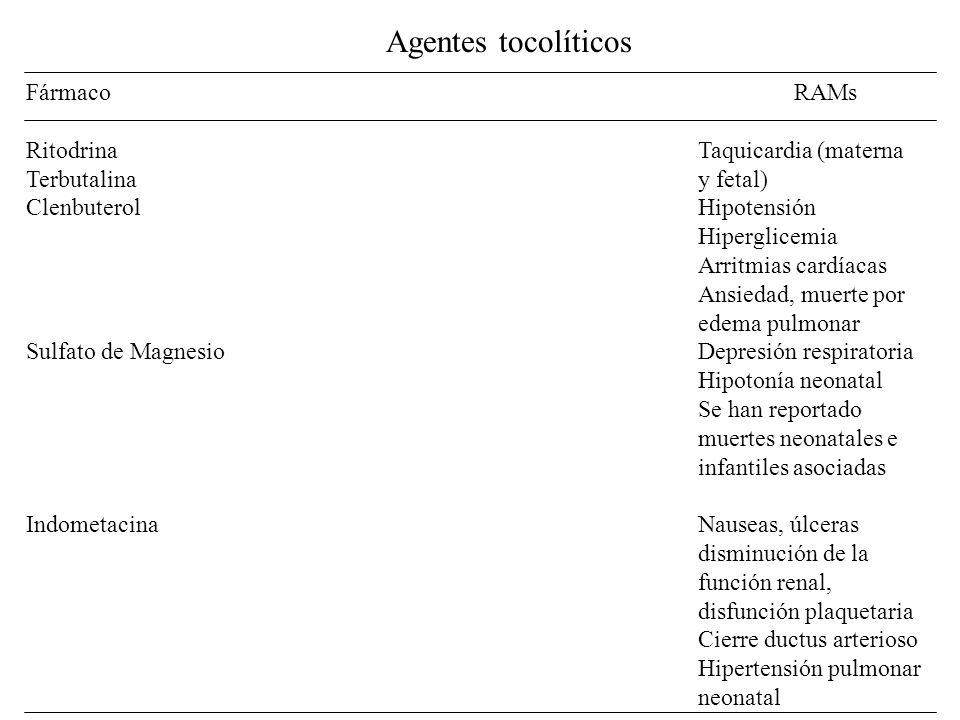 Agentes tocolíticos Fármaco RAMs Ritodrina Taquicardia (materna Terbutalina y fetal) ClenbuterolHipotensión Hiperglicemia Arritmias cardíacas Ansiedad