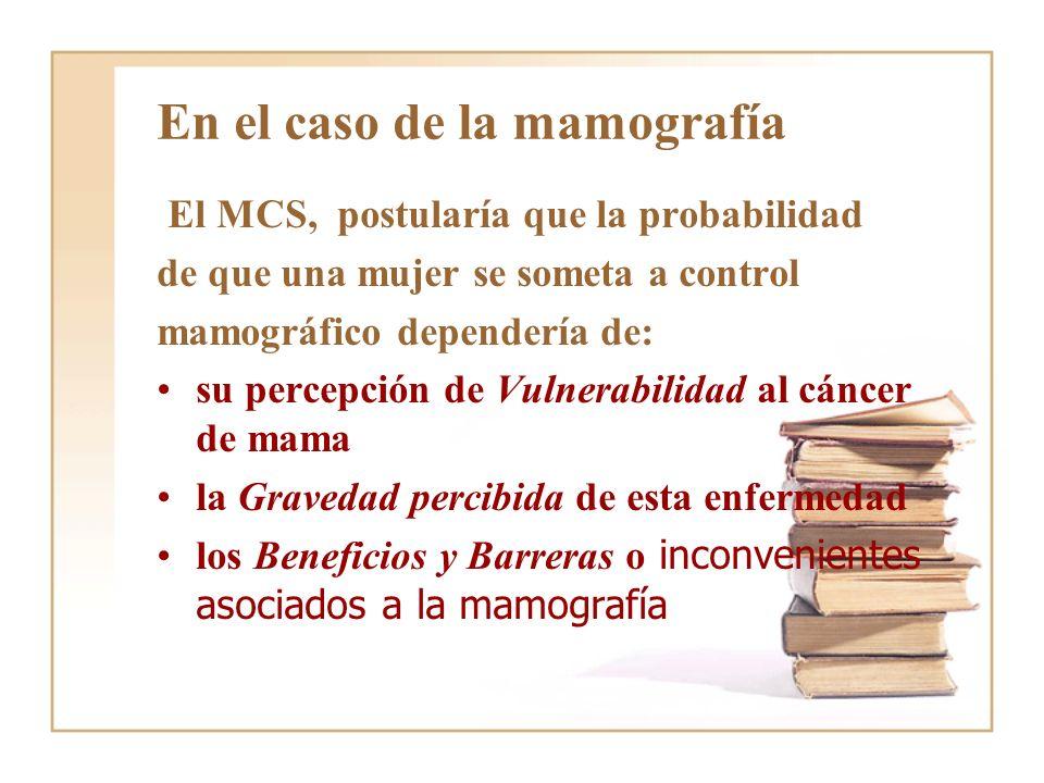 En el caso de la mamografía El MCS, postularía que la probabilidad de que una mujer se someta a control mamográfico dependería de: su percepción de Vu