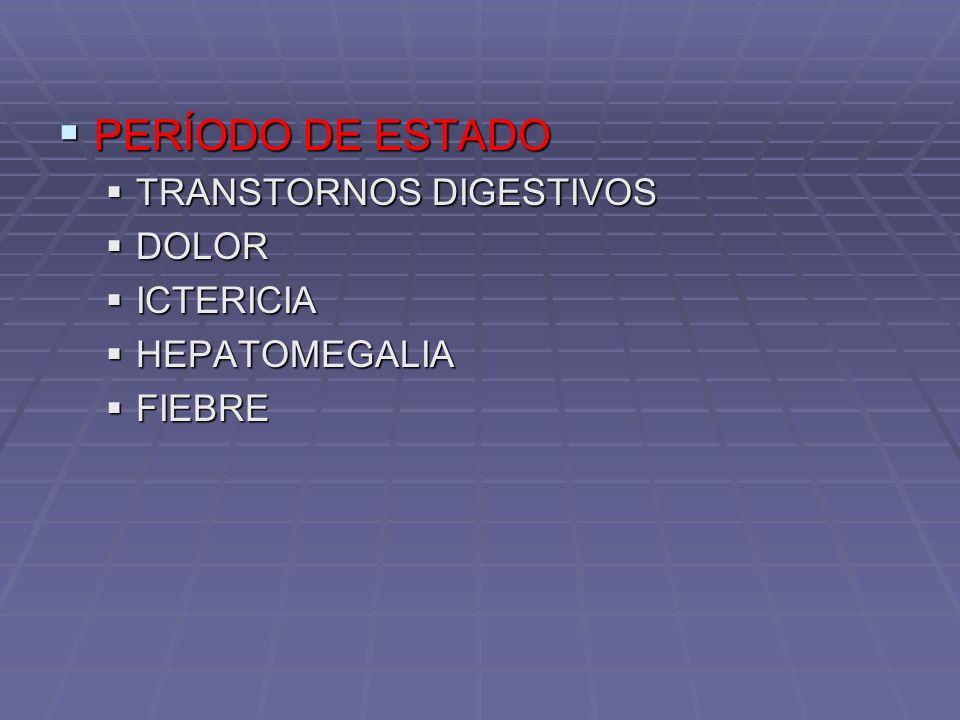 PERÍODO DE ESTADO PERÍODO DE ESTADO TRANSTORNOS DIGESTIVOS TRANSTORNOS DIGESTIVOS DOLOR DOLOR ICTERICIA ICTERICIA HEPATOMEGALIA HEPATOMEGALIA FIEBRE F