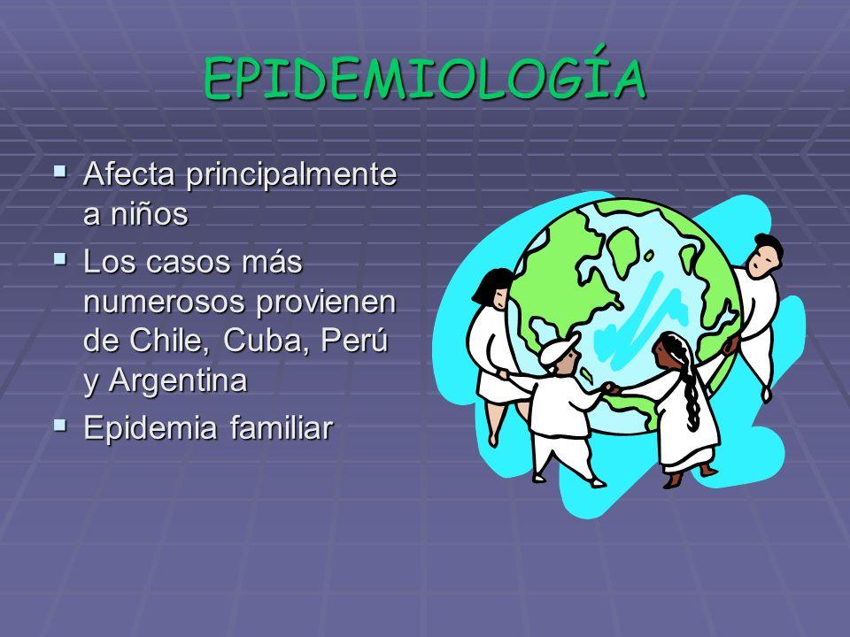 EPIDEMIOLOGÍA Afecta principalmente a niños Afecta principalmente a niños Los casos más numerosos provienen de Chile, Cuba, Perú y Argentina Los casos