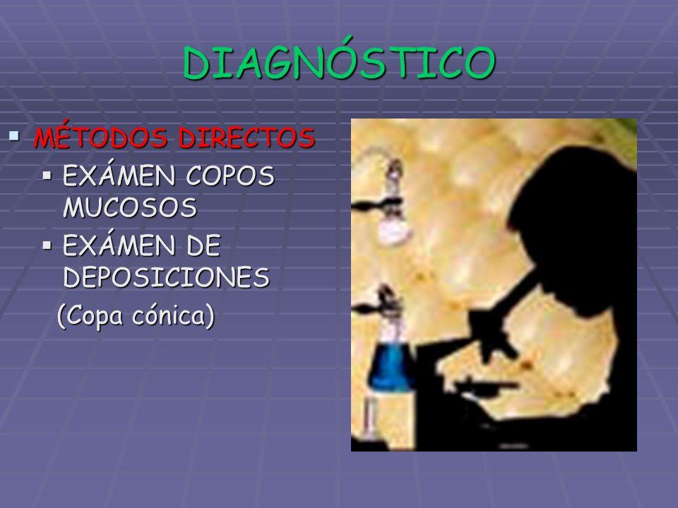 DIAGNÓSTICO MÉTODOS DIRECTOS MÉTODOS DIRECTOS EXÁMEN COPOS MUCOSOS EXÁMEN COPOS MUCOSOS EXÁMEN DE DEPOSICIONES EXÁMEN DE DEPOSICIONES (Copa cónica) (C