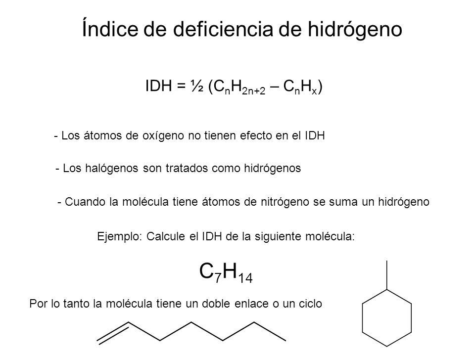 Índice de deficiencia de hidrógeno IDH = ½ (C n H 2n+2 – C n H x ) - Los átomos de oxígeno no tienen efecto en el IDH - Los halógenos son tratados com
