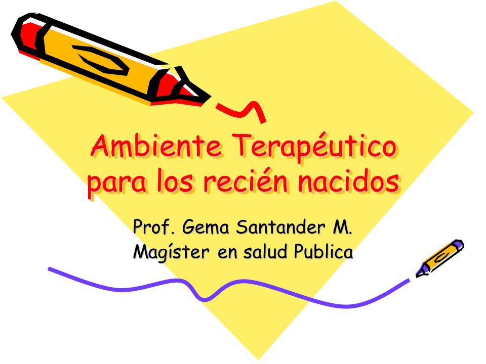 Ambiente Terapéutico para los recién nacidos Prof. Gema Santander M. Magíster en salud Publica