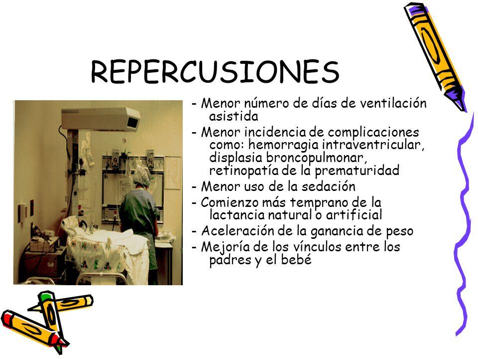 REPERCUSIONES - Menor número de días de ventilación asistida - Menor incidencia de complicaciones como: hemorragia intraventricular, displasia broncop