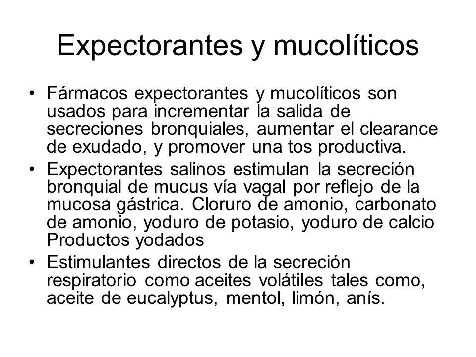 Expectorantes y mucolíticos Fármacos expectorantes y mucolíticos son usados para incrementar la salida de secreciones bronquiales, aumentar el clearance de exudado, y promover una tos productiva.