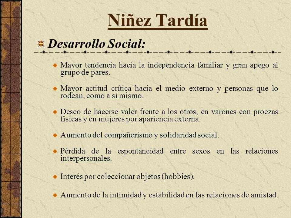 Niñez Tardía Desarrollo Social: Mayor tendencia hacia la independencia familiar y gran apego al grupo de pares.