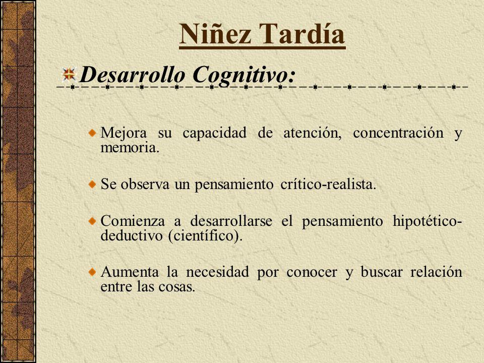 Niñez Tardía Desarrollo Cognitivo: Mejora su capacidad de atención, concentración y memoria.