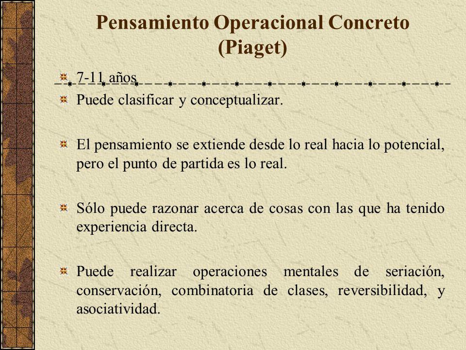 Pensamiento Operacional Concreto (Piaget) 7-11 años Puede clasificar y conceptualizar.