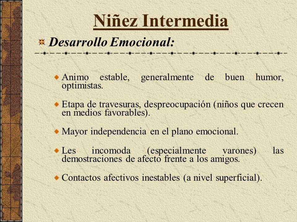 Niñez Intermedia Desarrollo Emocional: Animo estable, generalmente de buen humor, optimistas.