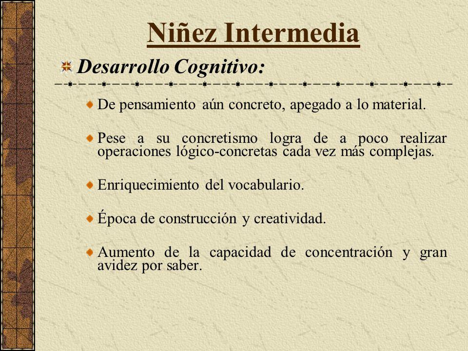 Niñez Intermedia Desarrollo Cognitivo: De pensamiento aún concreto, apegado a lo material.