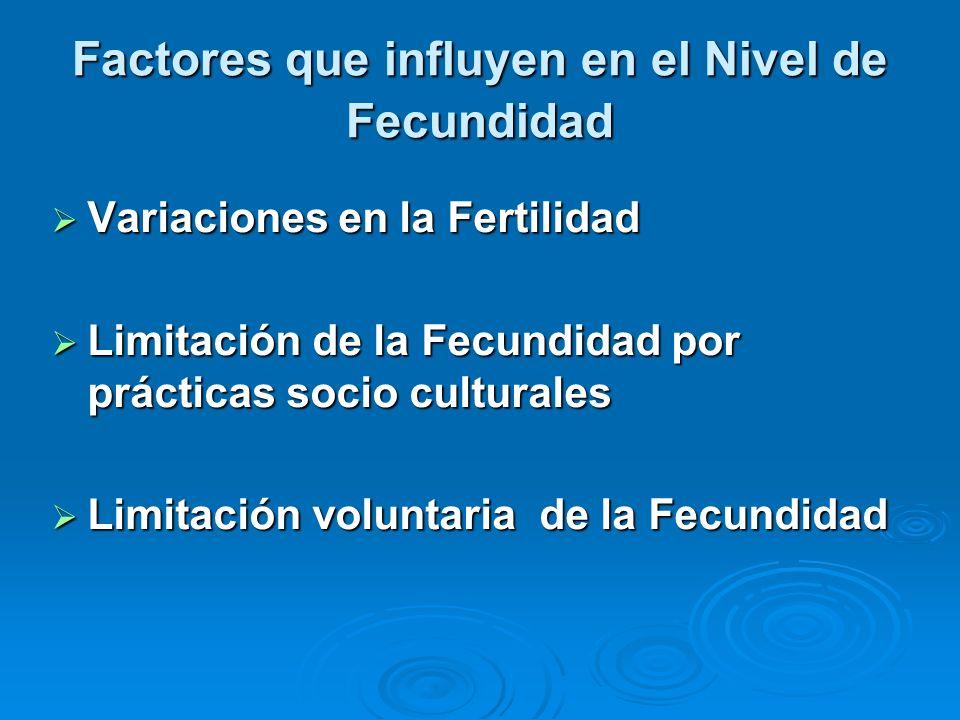 Factores que influyen en el Nivel de Fecundidad Variaciones en la Fertilidad Variaciones en la Fertilidad Limitación de la Fecundidad por prácticas so