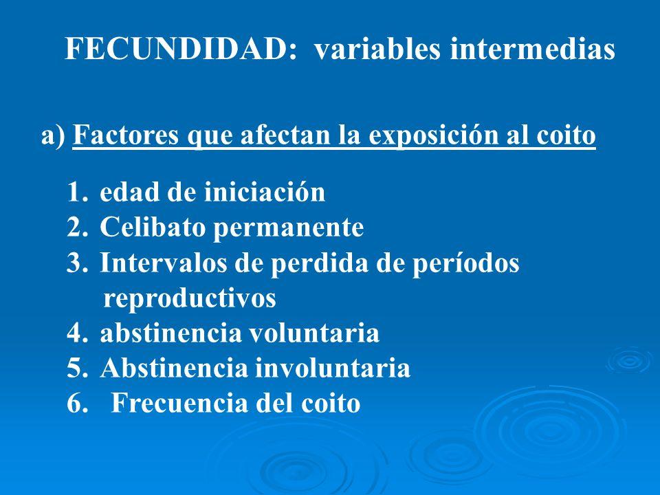 FECUNDIDAD: variables intermedias a) Factores que afectan la exposición al coito 1.edad de iniciación 2.Celibato permanente 3.Intervalos de perdida de