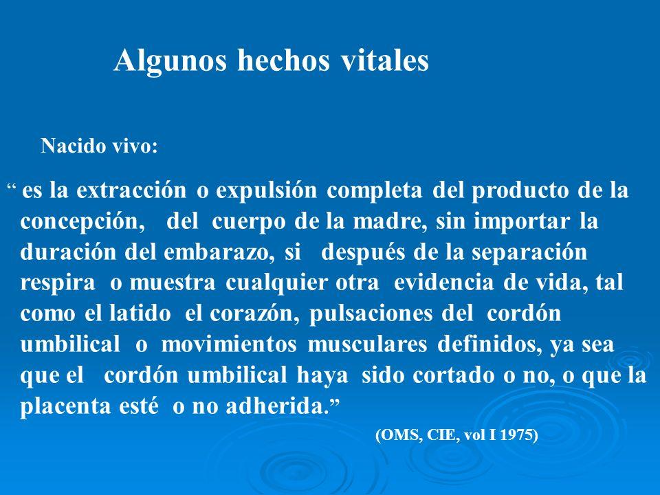 Algunos hechos vitales es la extracción o expulsión completa del producto de la concepción, del cuerpo de la madre, sin importar la duración del embar