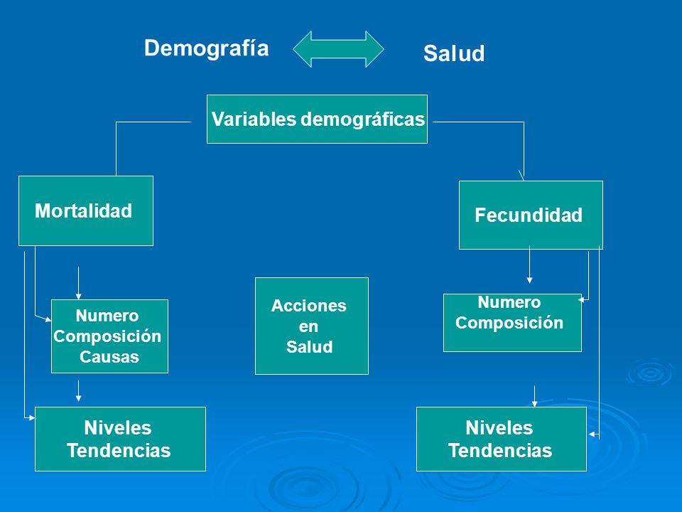 Demografía Salud Variables demográficas Mortalidad Fecundidad Acciones en Salud Numero Composición Causas Numero Composición Niveles Tendencias Nivele