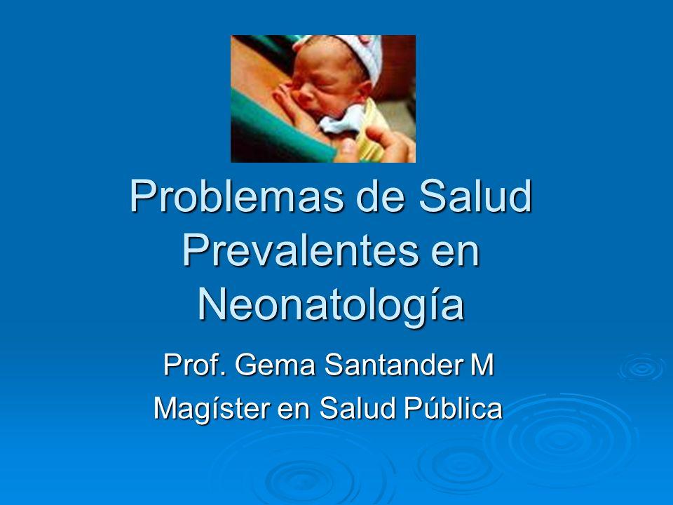 Problemas de Salud Prevalentes en Neonatología Prof. Gema Santander M Magíster en Salud Pública