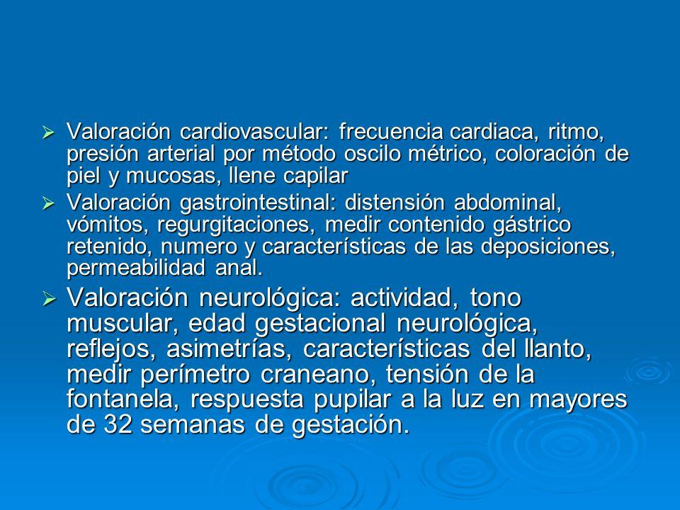 Valoración cardiovascular: frecuencia cardiaca, ritmo, presión arterial por método oscilo métrico, coloración de piel y mucosas, llene capilar Valorac