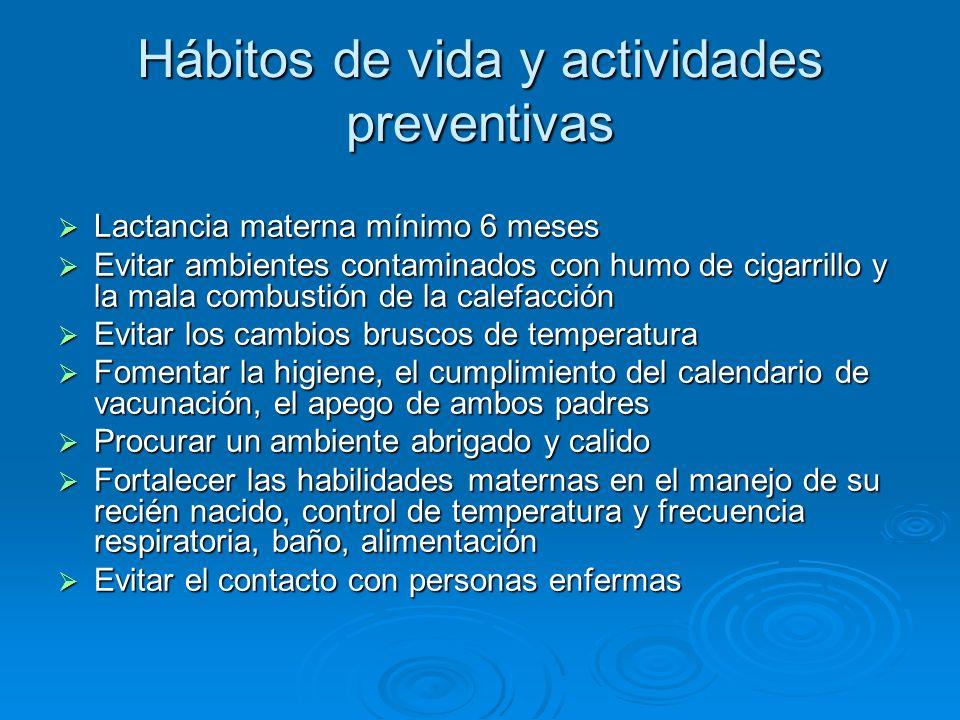 Hábitos de vida y actividades preventivas Lactancia materna mínimo 6 meses Lactancia materna mínimo 6 meses Evitar ambientes contaminados con humo de