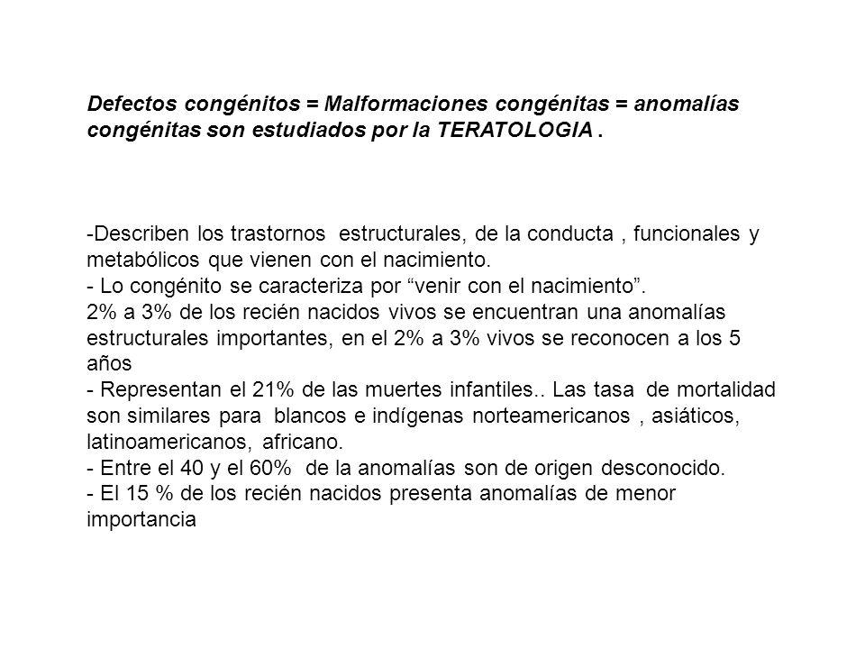 Defectos congénitos = Malformaciones congénitas = anomalías congénitas son estudiados por la TERATOLOGIA. -Describen los trastornos estructurales, de