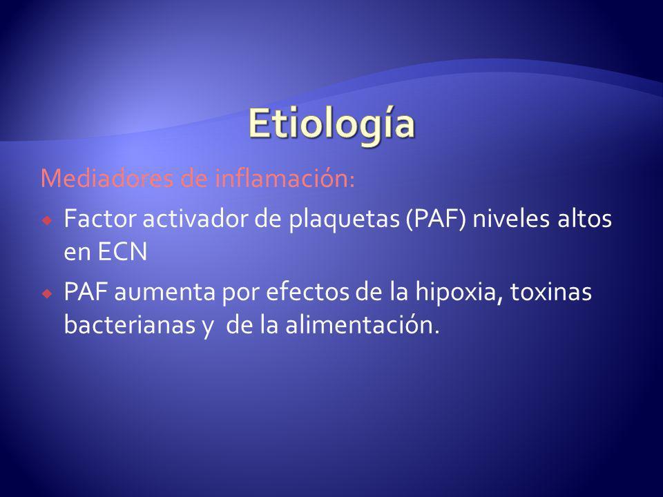Mediadores de inflamación: Factor activador de plaquetas (PAF) niveles altos en ECN PAF aumenta por efectos de la hipoxia, toxinas bacterianas y de la