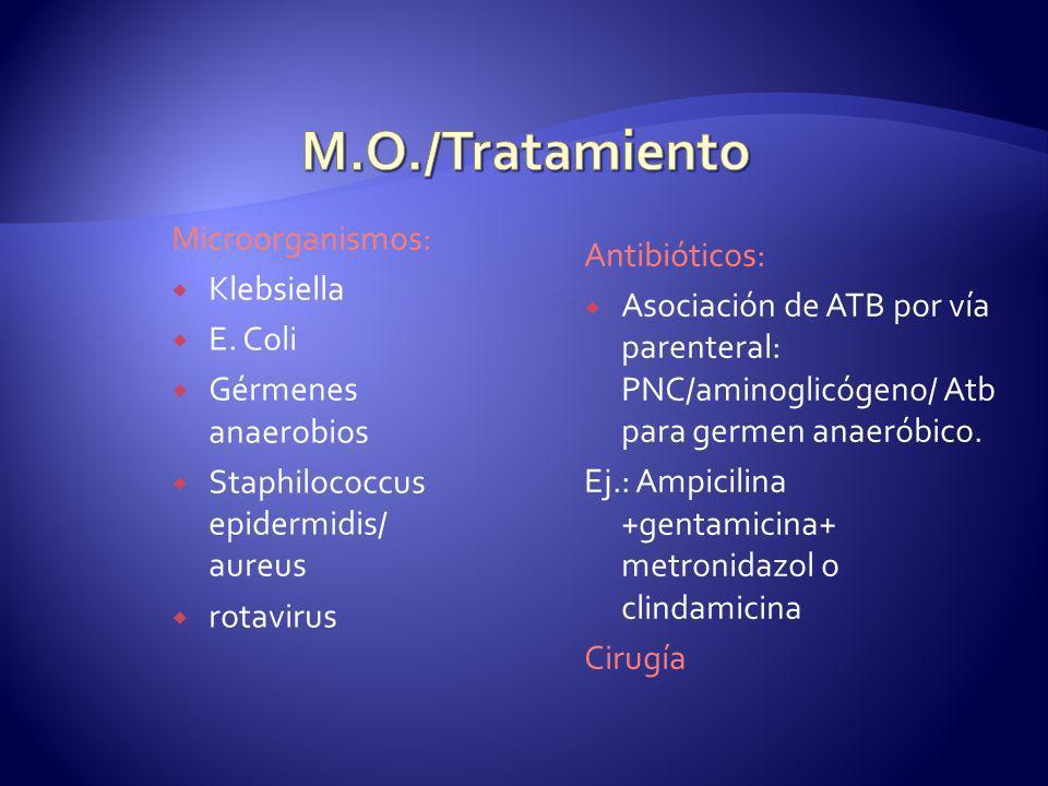 Microorganismos: Klebsiella E. Coli Gérmenes anaerobios Staphilococcus epidermidis/ aureus rotavirus Antibióticos: Asociación de ATB por vía parentera