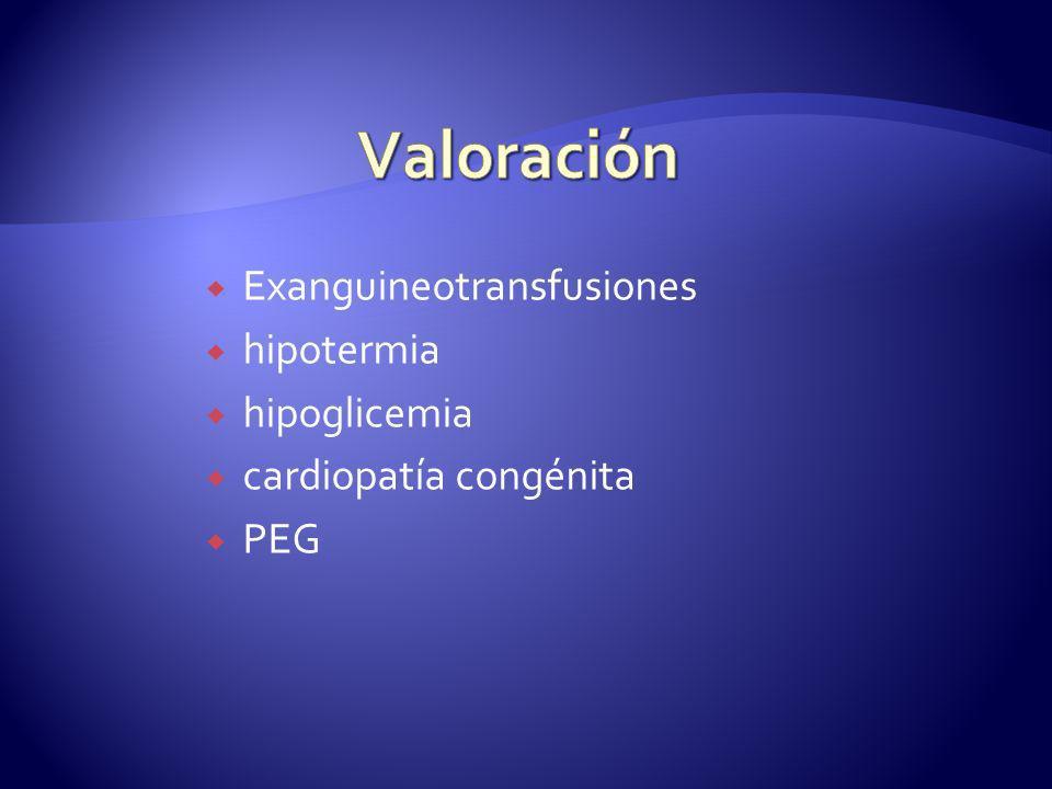 Exanguineotransfusiones hipotermia hipoglicemia cardiopatía congénita PEG