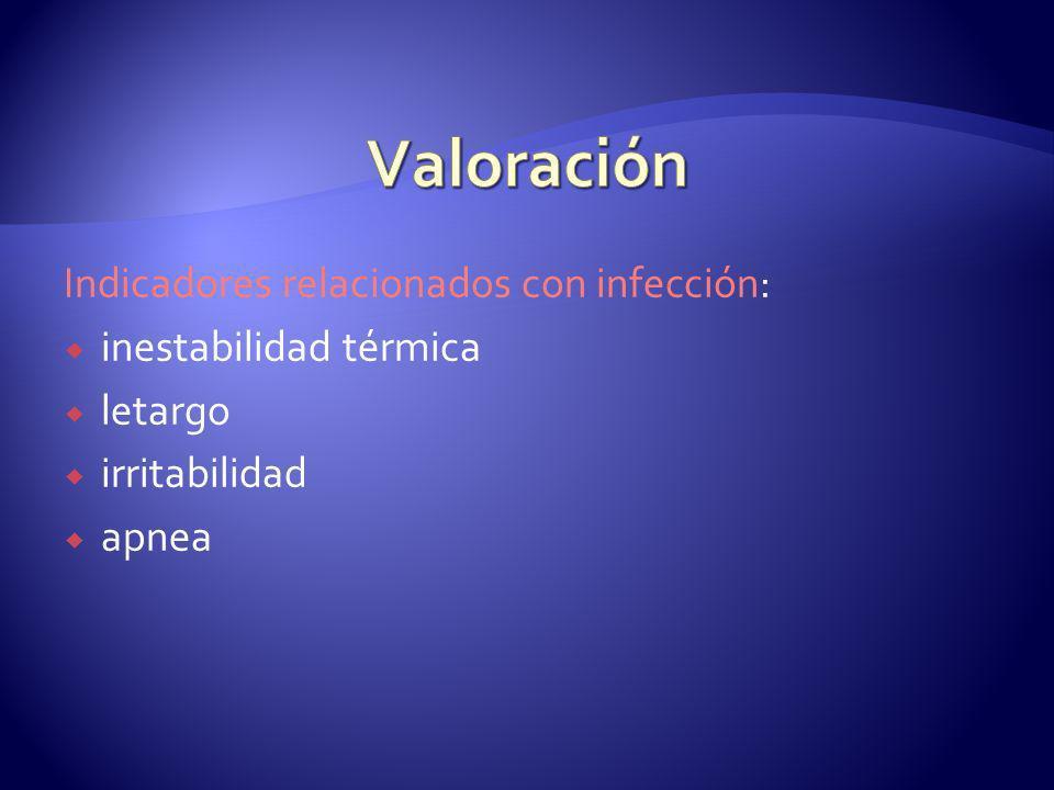 Indicadores relacionados con infección: inestabilidad térmica letargo irritabilidad apnea