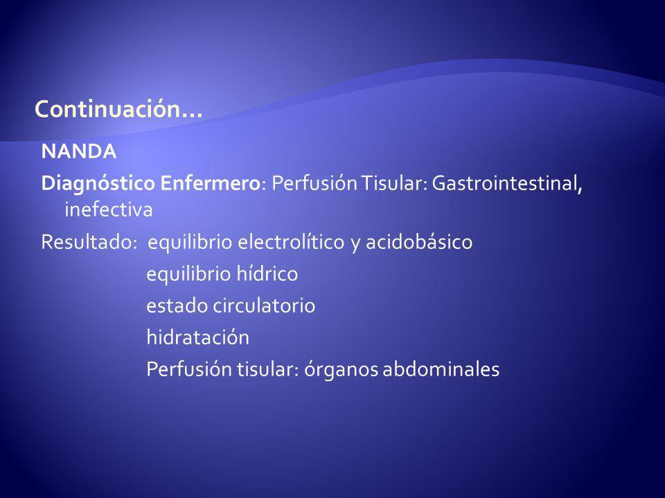 NANDA Diagnóstico Enfermero: Perfusión Tisular: Gastrointestinal, inefectiva Resultado: equilibrio electrolítico y acidobásico equilibrio hídrico esta