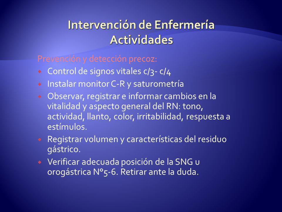Prevención y detección precoz: Control de signos vitales c/3- c/4 Instalar monitor C-R y saturometría Observar, registrar e informar cambios en la vit