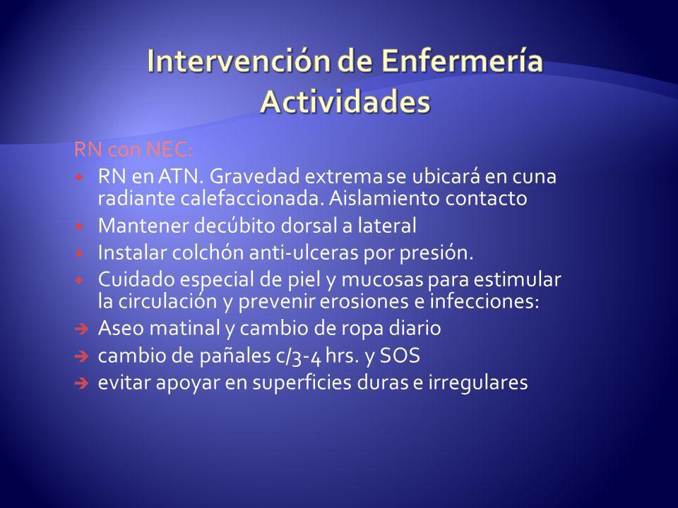 RN con NEC: RN en ATN. Gravedad extrema se ubicará en cuna radiante calefaccionada. Aislamiento contacto Mantener decúbito dorsal a lateral Instalar c