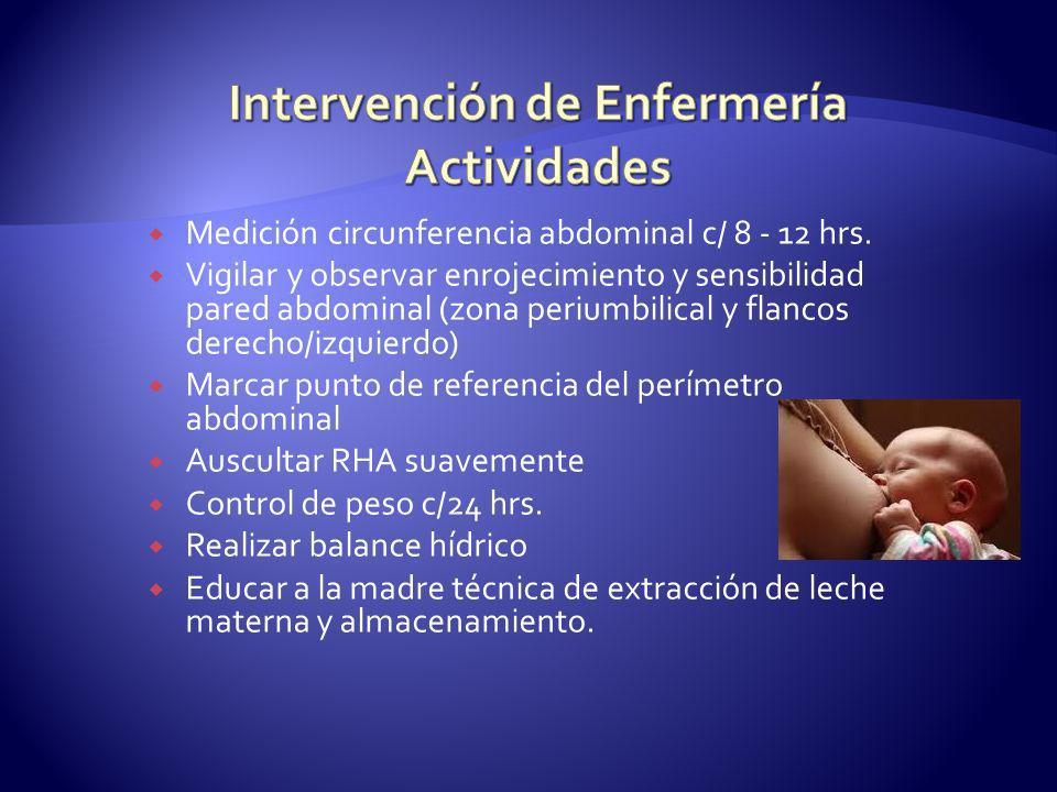 Medición circunferencia abdominal c/ 8 - 12 hrs. Vigilar y observar enrojecimiento y sensibilidad pared abdominal (zona periumbilical y flancos derech
