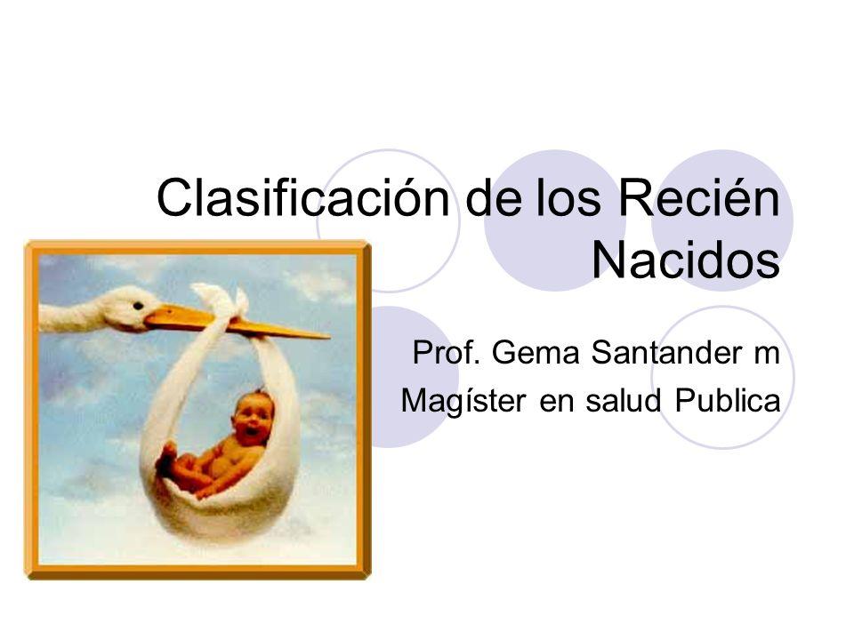 Clasificación de los Recién Nacidos Prof. Gema Santander m Magíster en salud Publica