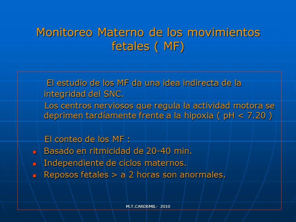 M.T.CARDEMIL- 2010 Monitoreo Materno de los movimientos fetales ( MF) El estudio de los MF da una idea indirecta de la integridad del SNC. El estudio