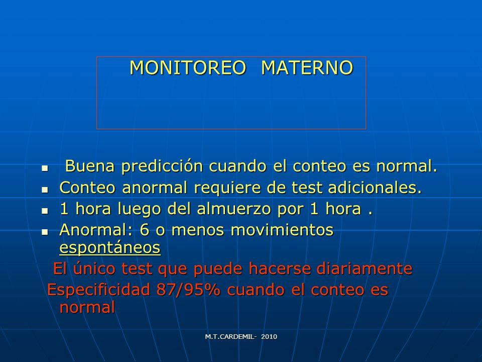 M.T.CARDEMIL- 2010 MONITOREO MATERNO Buena predicción cuando el conteo es normal. Buena predicción cuando el conteo es normal. Conteo anormal requiere