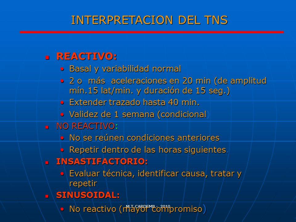 M.T.CARDEMIL- 2010 INTERPRETACION DEL TNS REACTIVO: REACTIVO: Basal y variabilidad normalBasal y variabilidad normal 2 o más aceleraciones en 20 min (