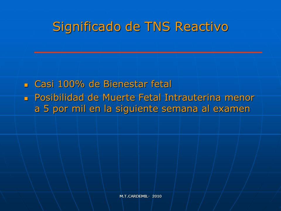 M.T.CARDEMIL- 2010 Significado de TNS Reactivo Casi 100% de Bienestar fetal Casi 100% de Bienestar fetal Posibilidad de Muerte Fetal Intrauterina meno