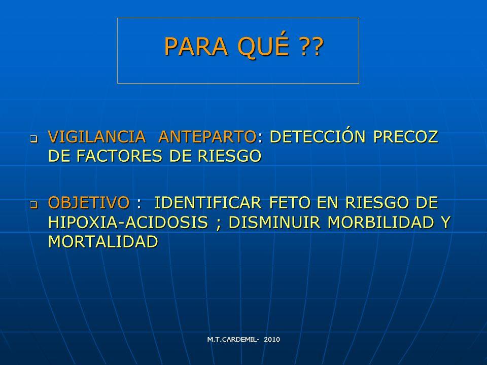 M.T.CARDEMIL- 2010 Registro Basal No Estresante TNS Normoxemia Centros cardioreguladores del SNC y vías periféricas indemnes Reactividad de la F.C.F.