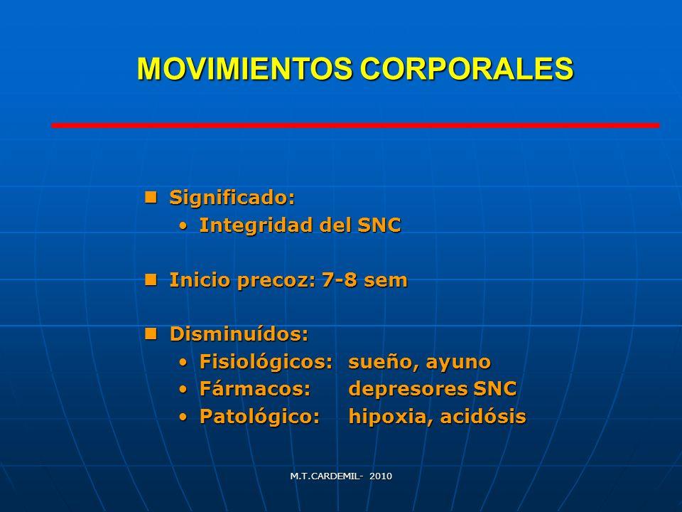 M.T.CARDEMIL- 2010 MOVIMIENTOS CORPORALES Significado: Significado: Integridad del SNCIntegridad del SNC Inicio precoz: 7-8 sem Inicio precoz: 7-8 sem