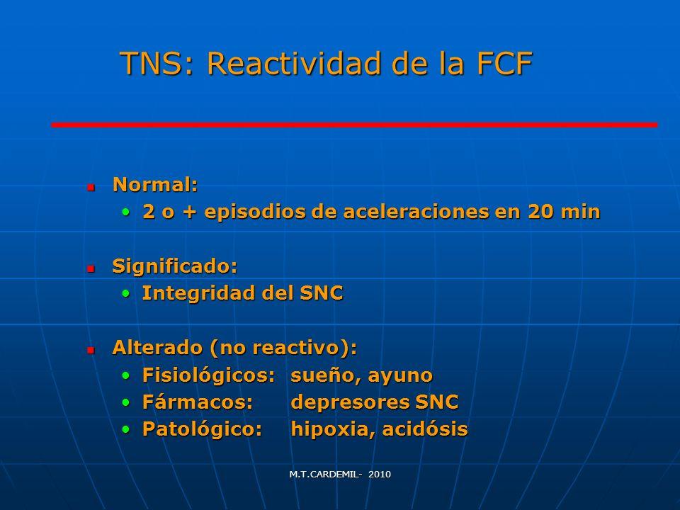 M.T.CARDEMIL- 2010 TNS: Reactividad de la FCF Normal: Normal: 2 o + episodios de aceleraciones en 20 min2 o + episodios de aceleraciones en 20 min Sig