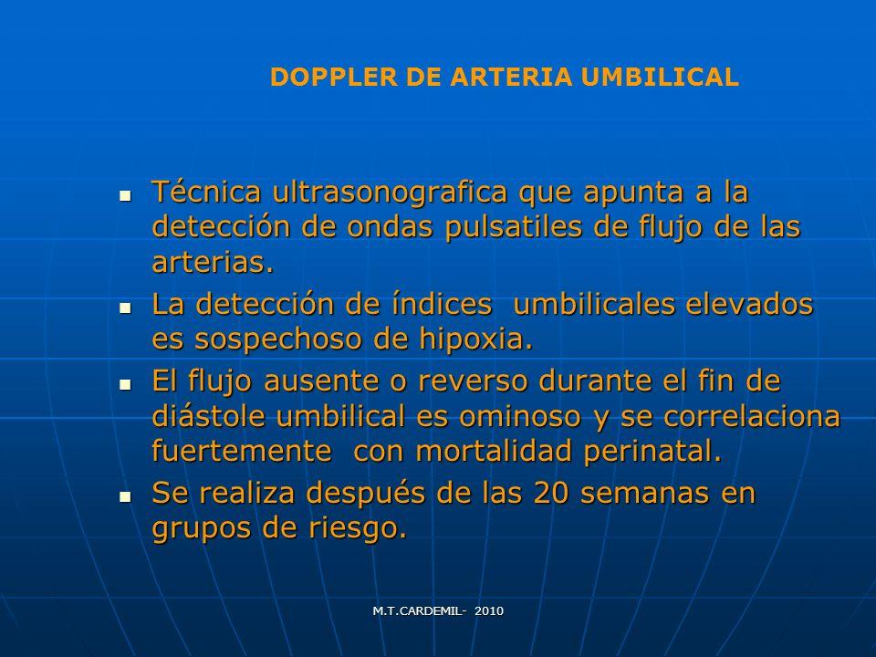 DOPPLER DE ARTERIA UMBILICAL Técnica ultrasonografica que apunta a la detección de ondas pulsatiles de flujo de las arterias. Técnica ultrasonografica
