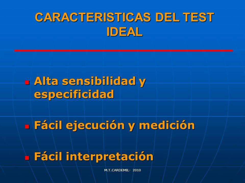 M.T.CARDEMIL- 2010 CARACTERISTICAS DEL TEST IDEAL Alta sensibilidad y especificidad Alta sensibilidad y especificidad Fácil ejecución y medición Fácil