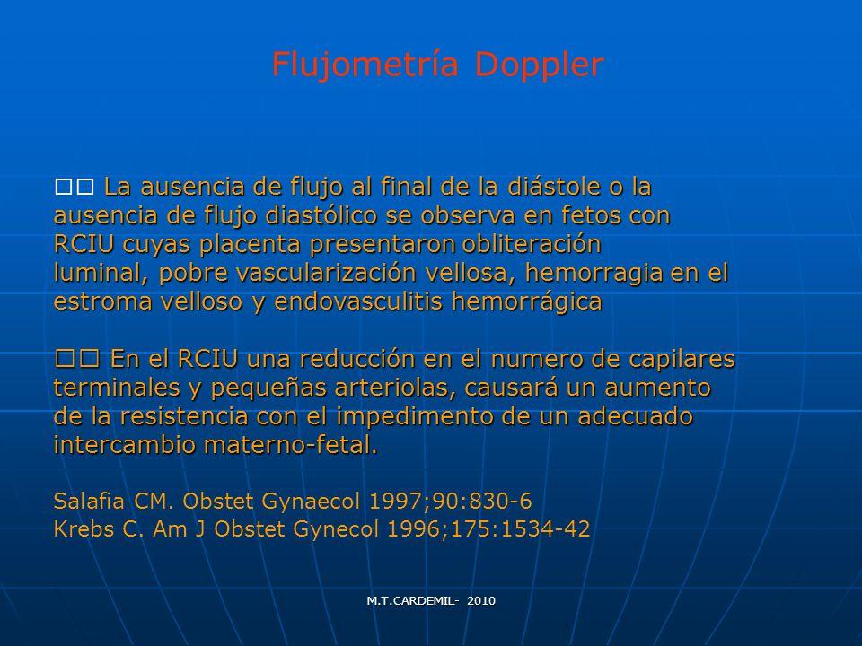La ausencia de flujo al final de la diástole o la ausencia de flujo diastólico se observa en fetos con RCIU cuyas placenta presentaron obliteración lu