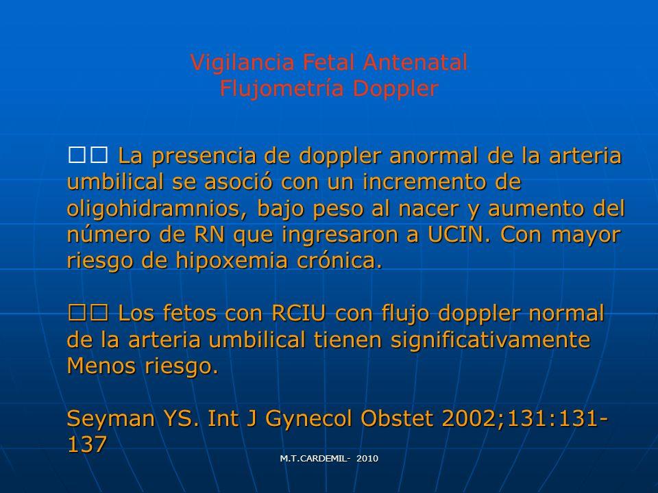 M.T.CARDEMIL- 2010 La presencia de doppler anormal de la arteria umbilical se asoció con un incremento de oligohidramnios, bajo peso al nacer y aument
