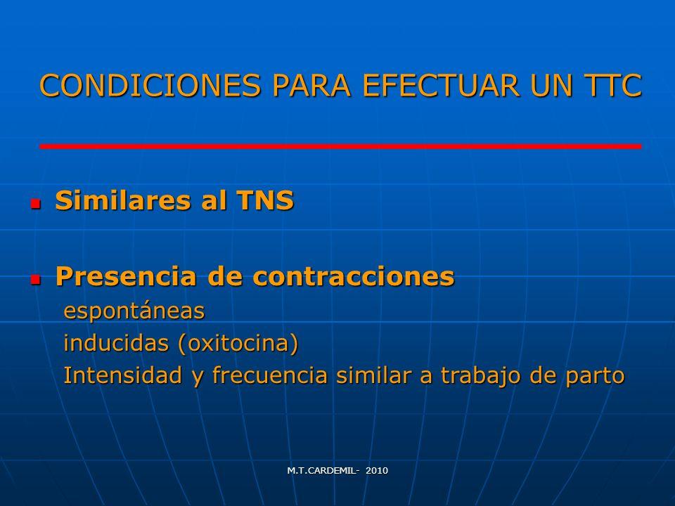M.T.CARDEMIL- 2010 CONDICIONES PARA EFECTUAR UN TTC Similares al TNS Similares al TNS Presencia de contracciones Presencia de contraccionesespontáneas