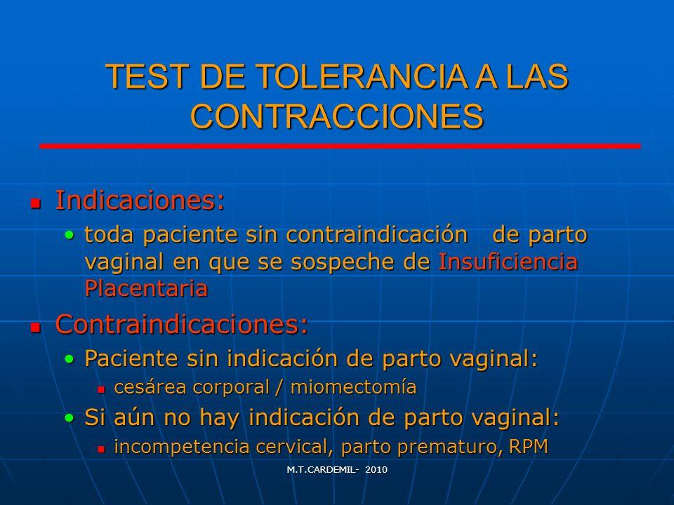 M.T.CARDEMIL- 2010 TEST DE TOLERANCIA A LAS CONTRACCIONES Indicaciones: Indicaciones: toda paciente sin contraindicación de parto vaginal en que se so