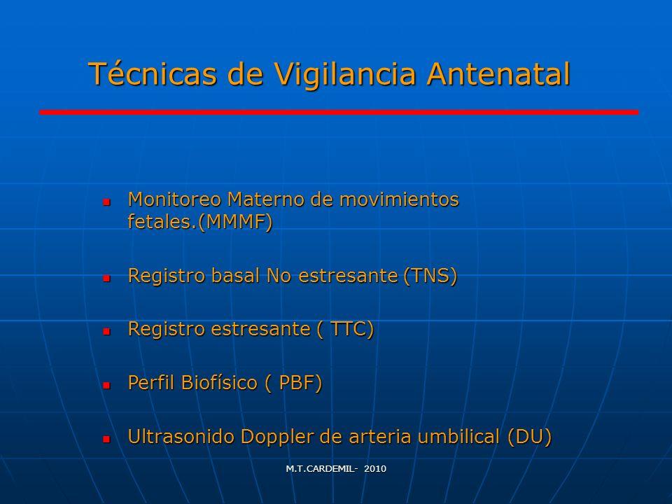 M.T.CARDEMIL- 2010 Monitoreo Materno de los movimientos fetales ( MF) El estudio de los MF da una idea indirecta de la integridad del SNC.
