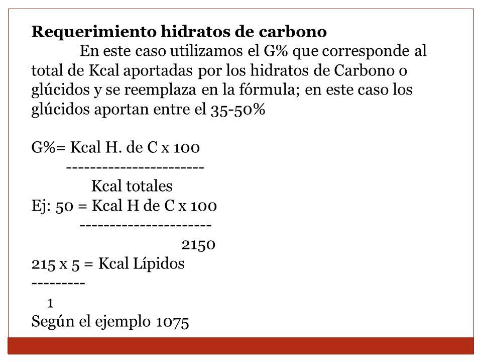 Requerimiento hidratos de carbono En este caso utilizamos el G% que corresponde al total de Kcal aportadas por los hidratos de Carbono o glúcidos y se
