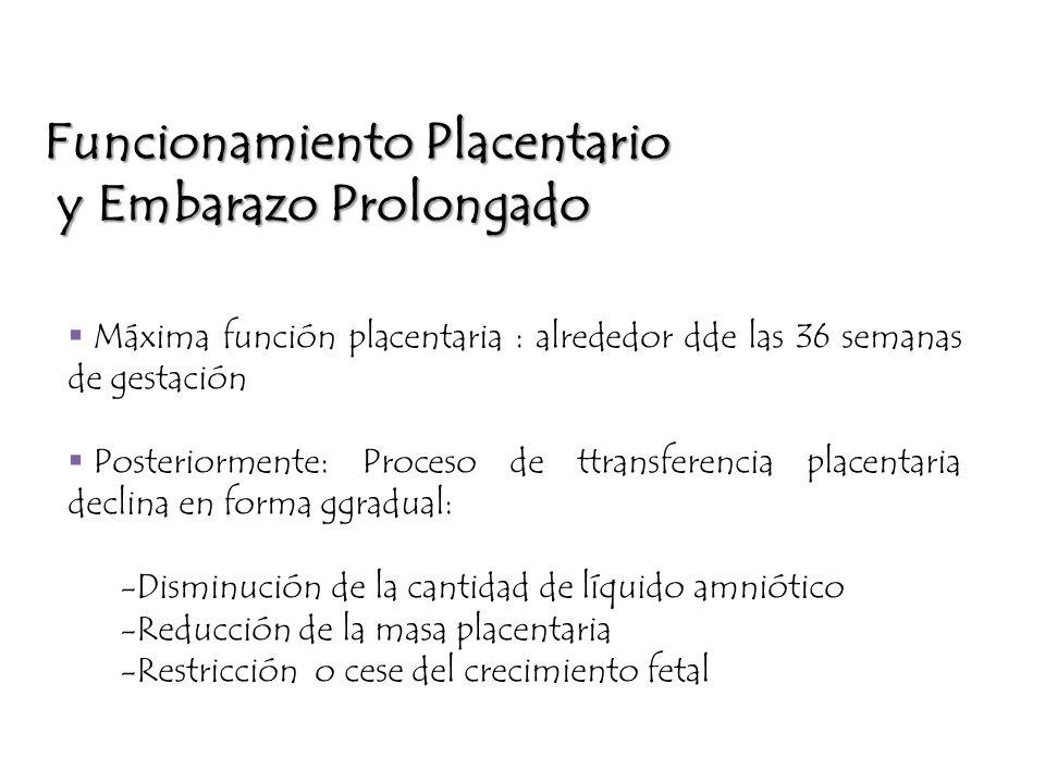 Máxima función placentaria : alrededor dde las 36 semanas de gestación Posteriormente: Proceso de ttransferencia placentaria declina en forma ggradual