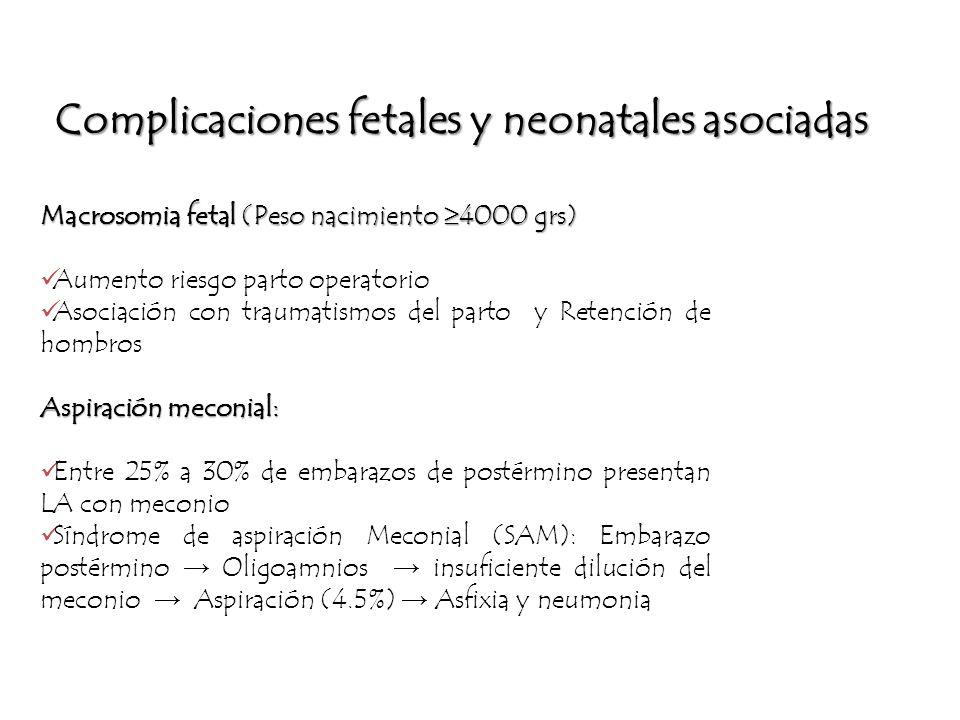 Complicaciones fetales y neonatales asociadas Macrosomia fetal (Peso nacimiento 4000 grs) Aumento riesgo parto operatorio Asociación con traumatismos